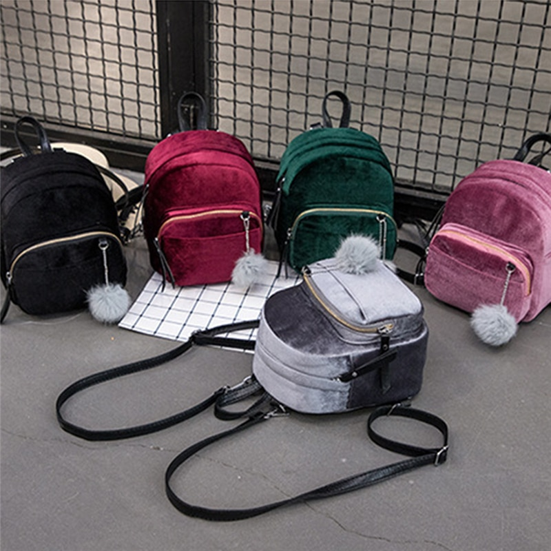 AliExpress - Women Backpacks Velvet Backpack Veludo Schoolbag Zipper With Pompom Fashion Casual Mini Backpacks Female Bags Mochila