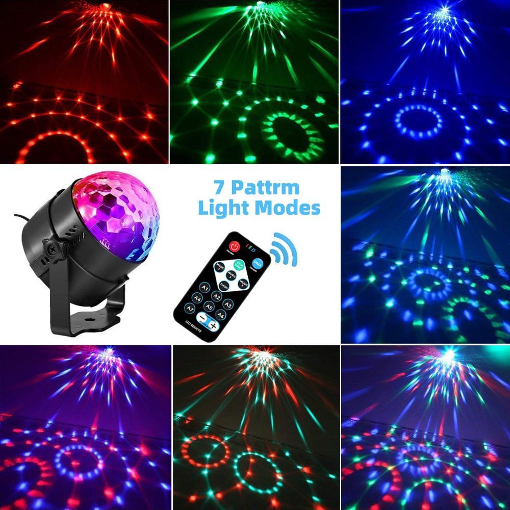 Вращающийся Диско-Шар с автоматической активацией звука, праздничное освещение, сценисветильник освещение, движущийся головной светильник для DJ, свадебное украшение, сценическое освещение