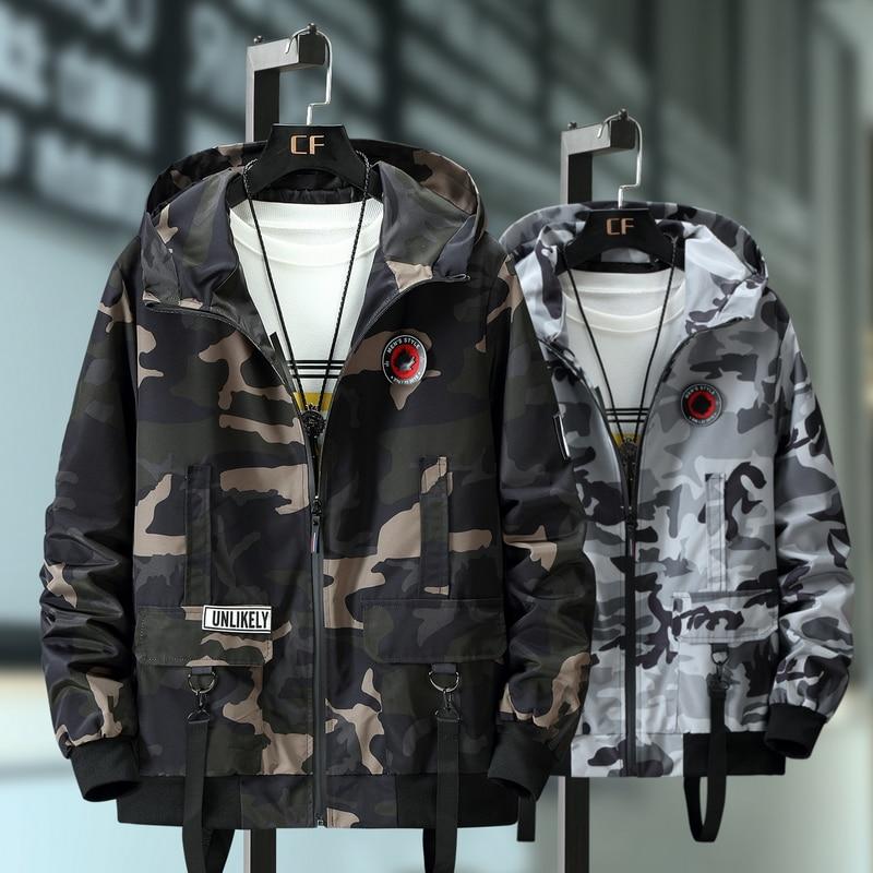 Бомбер мужской в стиле милитари, повседневная камуфляжная куртка-бомбер, модная ветровка с капюшоном, осень 10XL 9XL 8XL 7XL