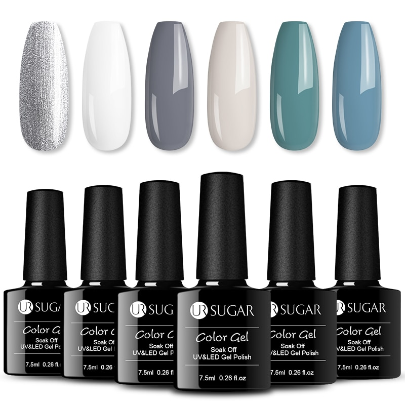 UR SUGAR 6/8pcs/Lot Gel Nail kits Soak Off Long Lasting UV LED Gel varnish Shiny Color Gel Polish Nail Art  varnish Set