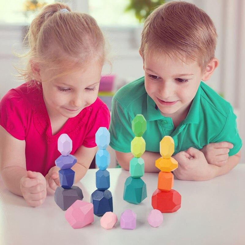 Деревянные сборные строительные блоки с балансировочным камнем, головоломки, игрушки для детей, строительные блоки, игрушки Монтессори, цв...