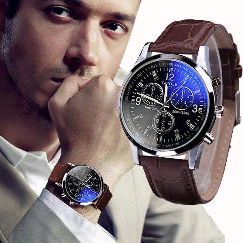 Relojes de pulsera de lujo para hombre, de cuero sintético, de negocios, analógicos, a la moda