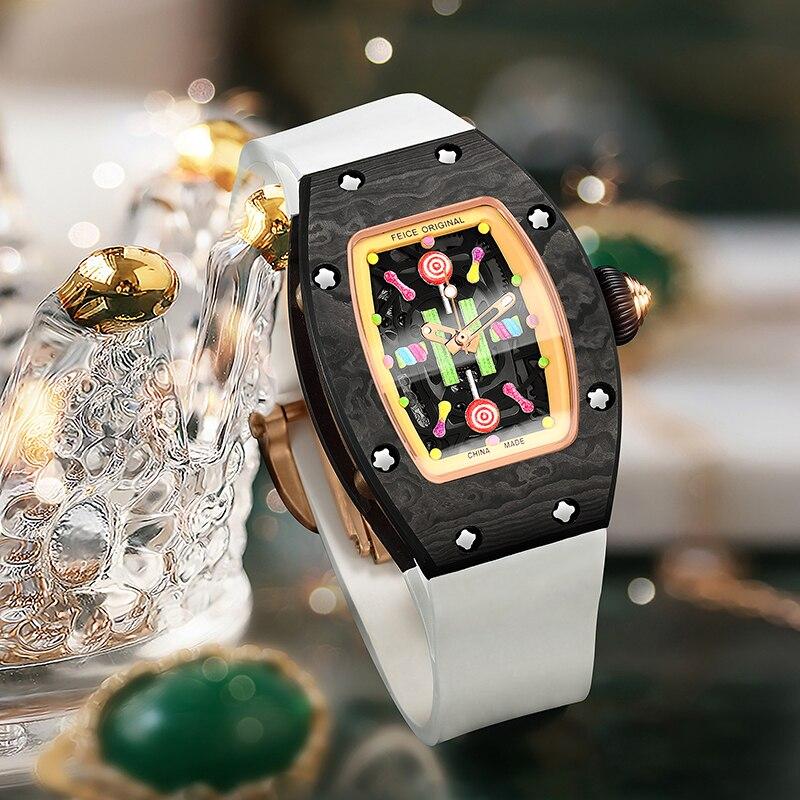 FEICE Women's Automatic Mechanical Watch Waterproof Fashion Luxury Simple Barrel Watch Sapphire Watch Mirror Wrist Watches FM606