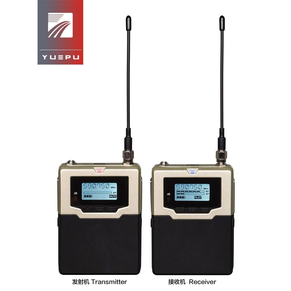 YUEPU profesional Dual Beltpack cámara inalámbrica sistema de micrófono UHF micrófono inalámbrico para cámara