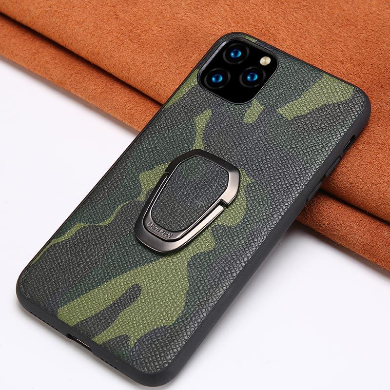 Funda de teléfono de cuero de camuflaje Original para iPhone 11 Pro 11 Pro Max X XS XR 7 8 Plus 6 6s 7 SE 2020 cubierta de soporte magnético de anillo