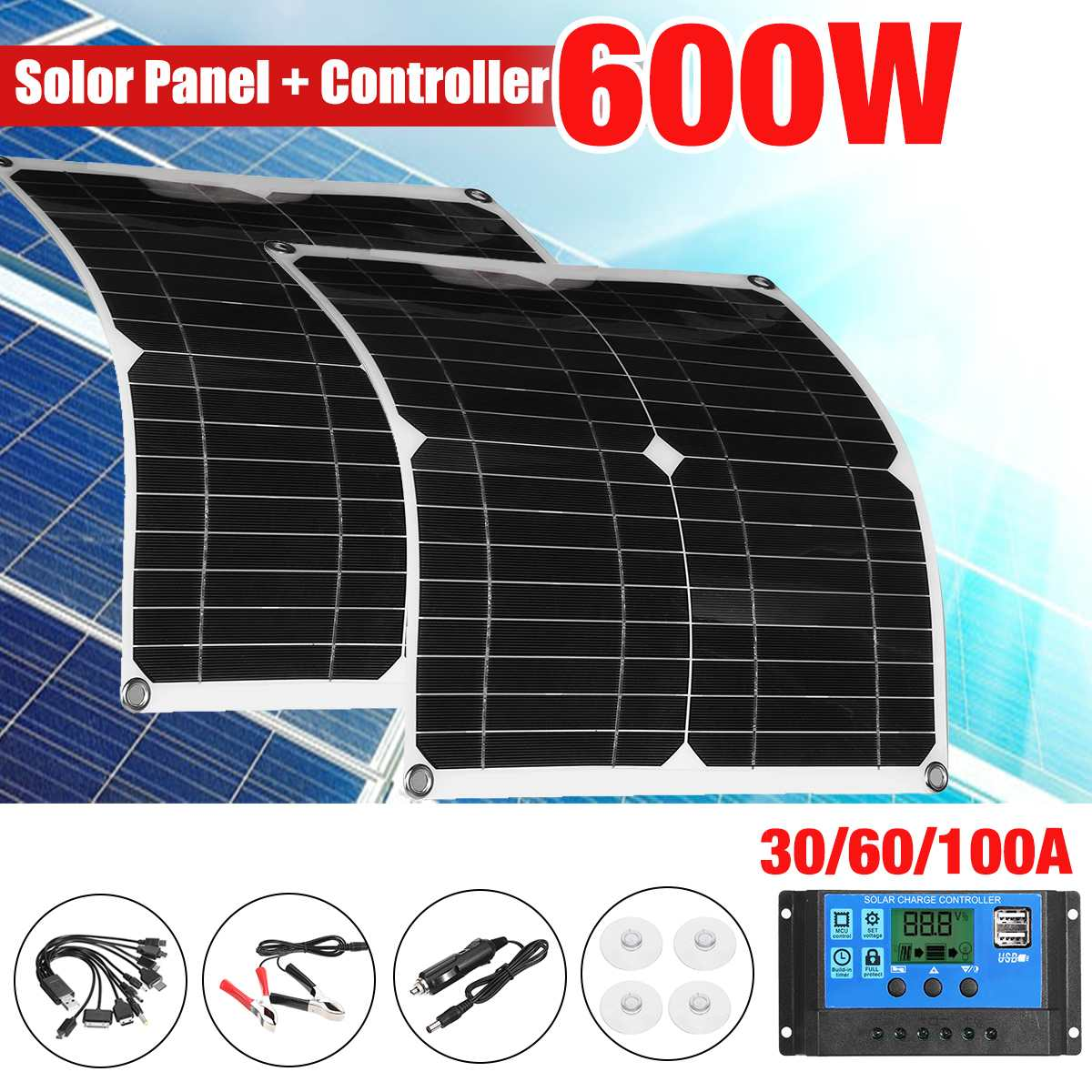 600W/300W Solar Panel Kit with 10in1 USB Cable Sun Power Solar Cells Bank Pack IP65 Waterproof for Phone Car RV Boat Charging
