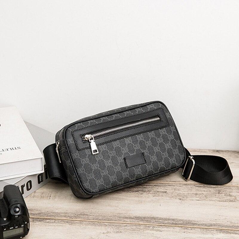 PU Lattice Messenger Bag for Men Chest Bag Business Hand Bags Luxury Soft Leather Crossbody Bags for Men Designer Men Bag