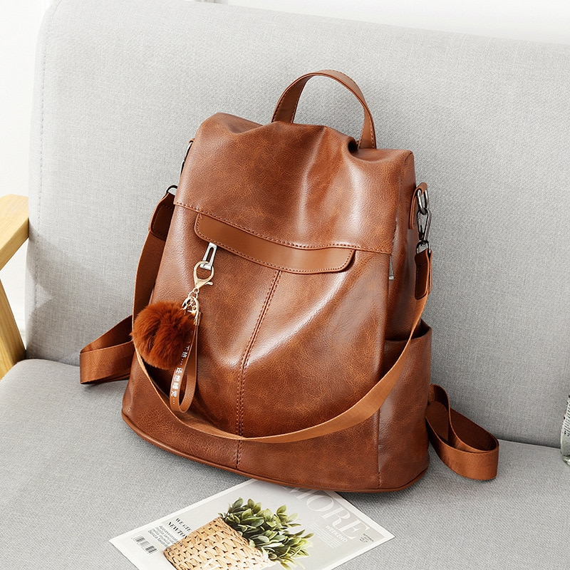 Women Backpack High Quality Vintage Oil Wax PU Leather Bagpack 2021 New Waterproof Anti-theft Ladies Leisure Travel Back Pack