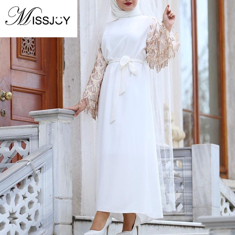 MISSJOY-فستان ماكسي وردي بأكمام طويلة للنساء ، ملابس عربية مرقعة بشراشيب ، عباية دبي ، ملابس تركية إسلامية