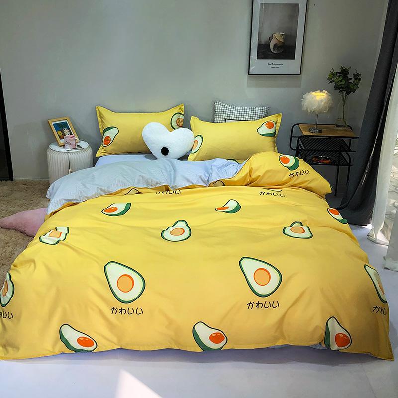 Anime dos desenhos animados abacate conjunto capa de edredão fronha folha de cama plana rei rainha completa singe tamanho 3/5pcs