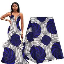 Le plus nouveau tissu africain cire 6 Yards bleu Royal Ankara tissu africain véritable cire impression Polyester 2020 tissu nigérian pour les femmes robe