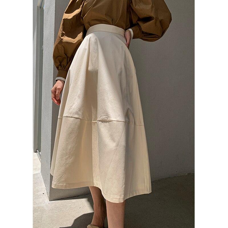الخريف الشتاء أنيقة المرأة منتصف طول تنورة مرونة عالية الخصر 2020 جديد أزياء فضفاضة الصلبة الإناث خط التنانير vs486