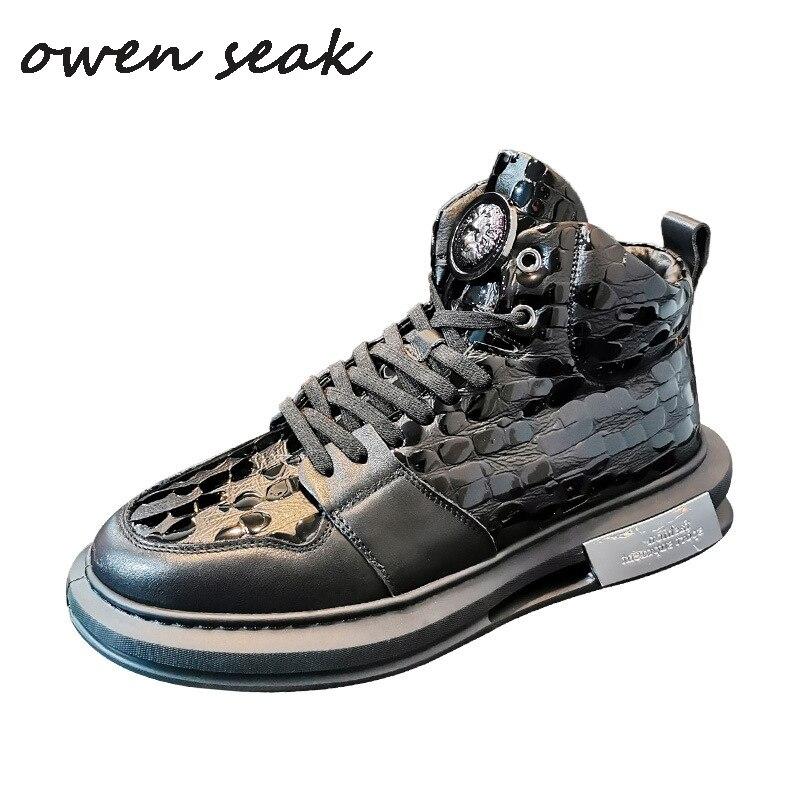 182 Seak-أحذية جلدية أصلية للرجال ، أحذية رياضية فاخرة ، أحذية رياضية غير رسمية مع أربطة