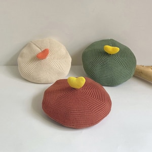 Winter and Autumn  kids children Cool Wind Knitted Berets Curling Pumpkin Hat With 3D Love Painter's Cap Baby's Wool Cap HOT