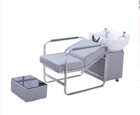 High-end shampoo bed barber shop special stainless steel half-lying shampoo bed ceramic deep basin