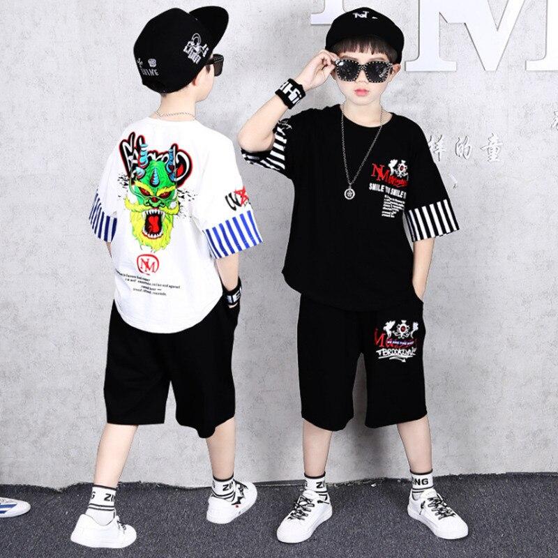 Meninos meninas conjunto de roupas verão manga curta unicórnio dos desenhos animados algodão crianças roupas terno outerwear t-shirts conjunto de duas peças