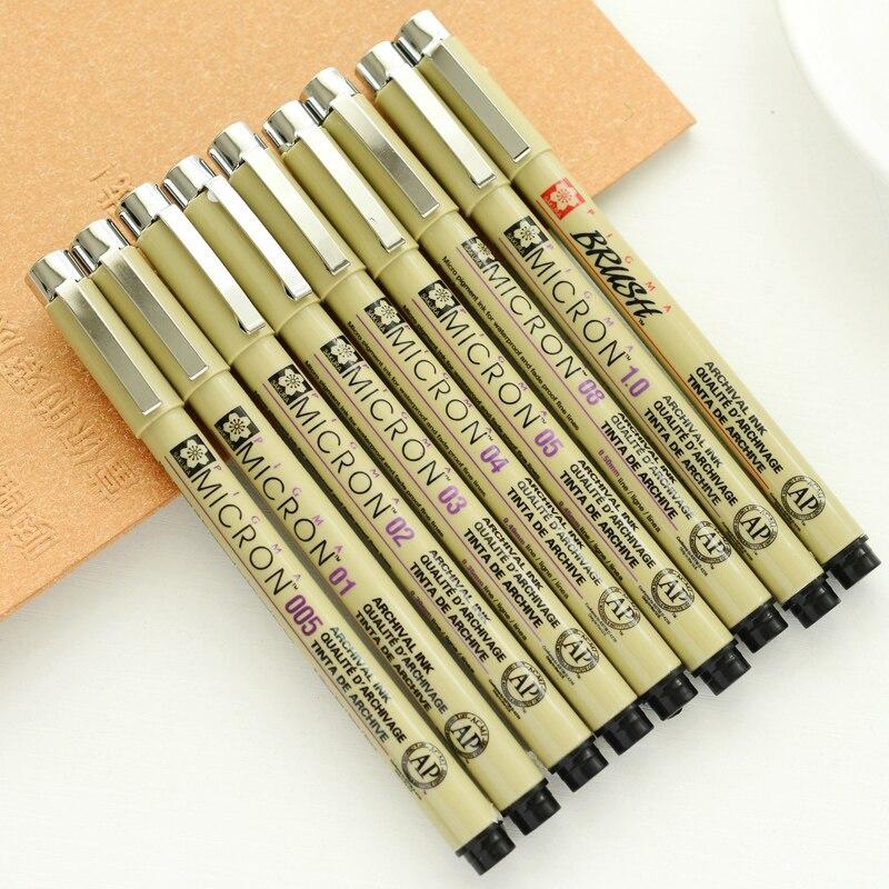 1 pçs sakura forro caneta conjunto à prova dwaterproof água preto fineliner micron caneta design esboço desenho marcador artista marcadores