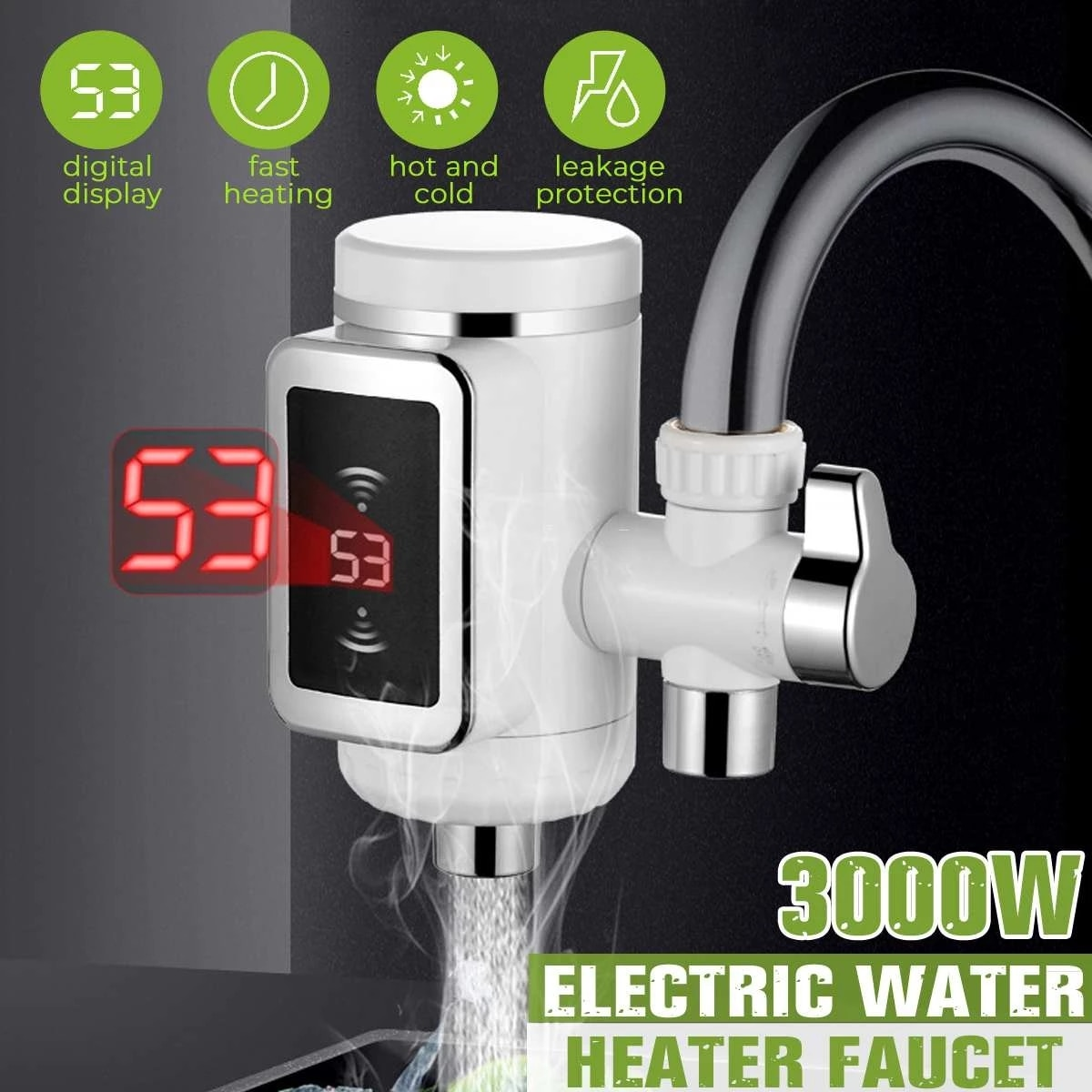 3000W LED Display Tankless Water Heater Electric Kitchen Water Heating Tap Instant Hot Water Faucet