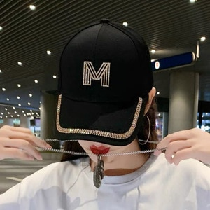 Brand Diamond M Letter Baseball Cap For Women Summer Outdoor Sun Protection Hat 2021 Autumn Casual Ladies Caps