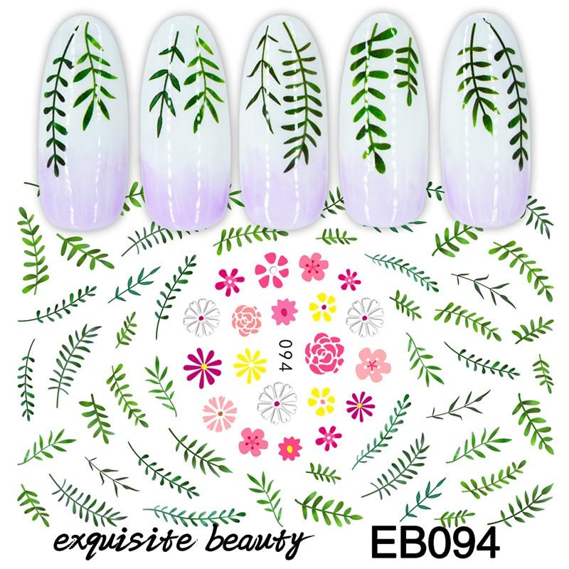 Adhesivos para uñas 3D, pegatina de moda de verano, diseño de flores, ramas de césped, decoración de uñas, accesorios de manicura de papel de aluminio para envolver