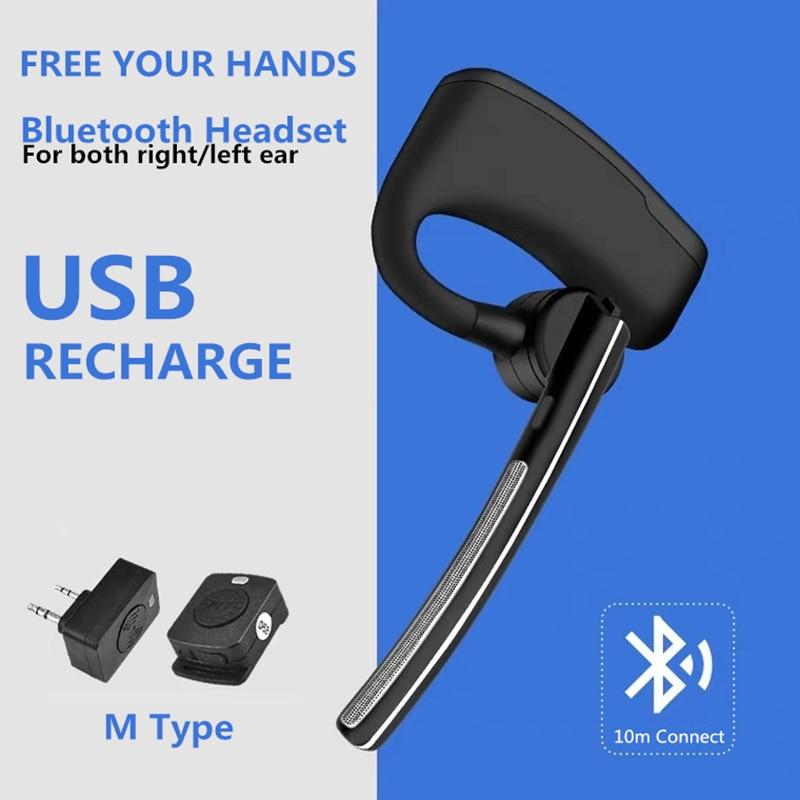 Baofeng Wireless Bluetooth Headset Walkie Talkie Earphone PTT Two Way Radio M Type Headphone With Mic For UV5R UV82 bf888s Phone enlarge