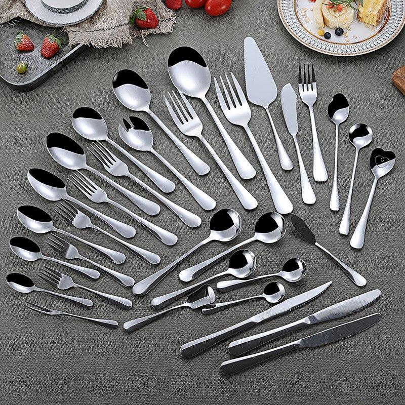 Sliver Tableware Sets Stainless Steel Spoon Soup Spoon Coffee Spoon Fruit Fork Steak Knife Fork Western Tableware Dinnerware Set