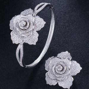 Zlxgirl Classic Classic Big Size Rose flower bangle With ring Jewelry sets Fashion Women' Love Bangles ring free shipping bags