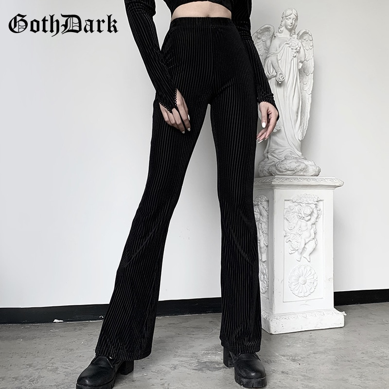 Goth Dark Vintage Streetwear Women Pants Flare Harajuku E-girl Aesthetic Emo Grunge Female Trousers