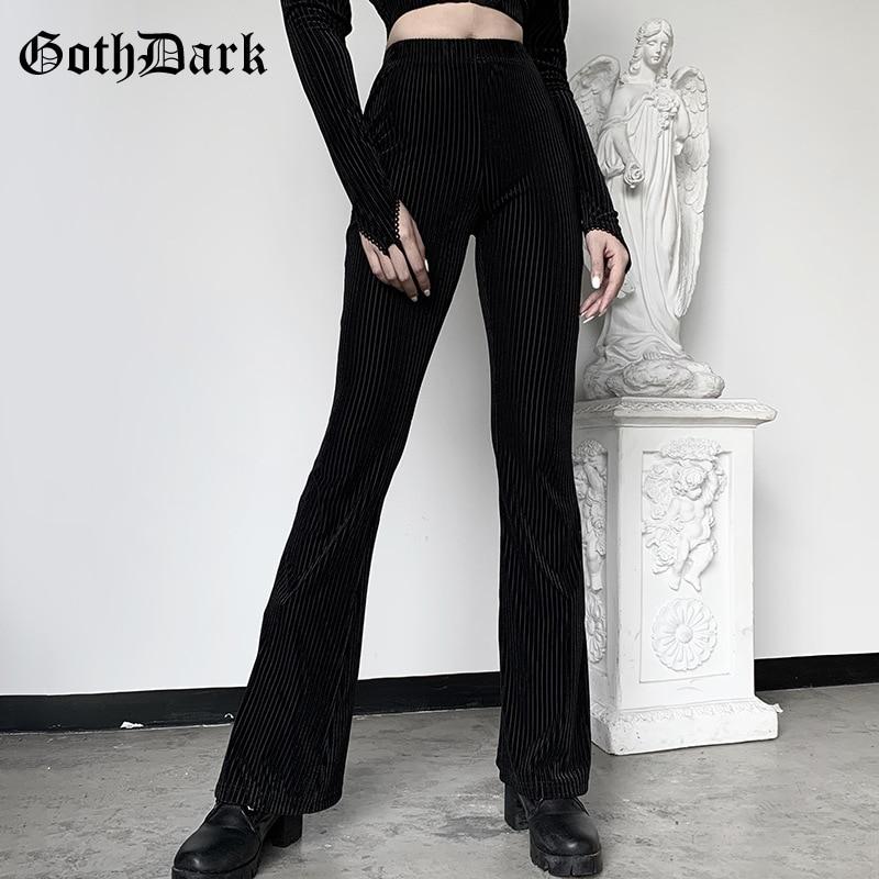 Goth Dark Vintage Streetwear Women Pants Flare Harajuku E-girl Aesthetic Emo Grunge Female Trousers Y2K Spring 2020 Chic