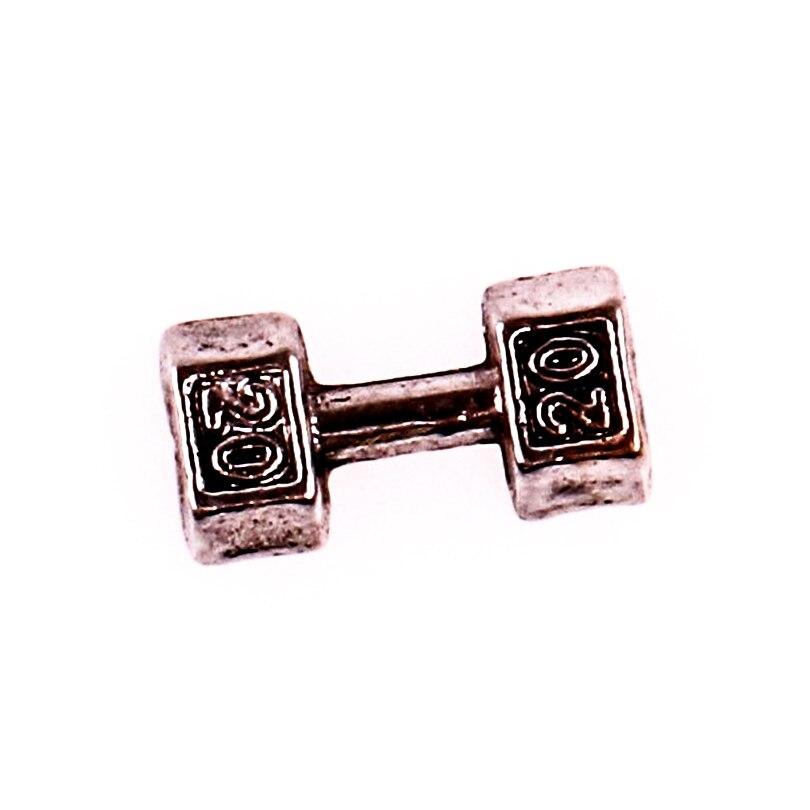 F576 серебряные гантели в форме плавающих шармов из сплава для гостиной памяти Стеклянные Плавающие Медальоны Подвески DIY ювелирные изделия ...