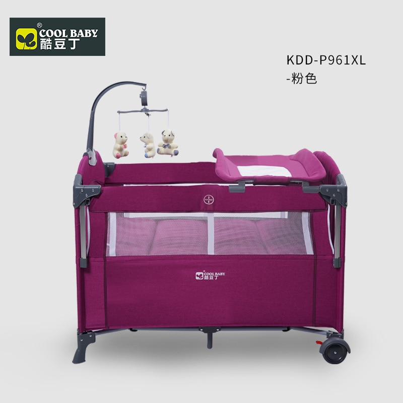 Cool Baby Crib Multi-function Folding Portable Baby Bed Cradle Bed Movable Baby Stitching Bed  Baby Stuff for Newborns enlarge
