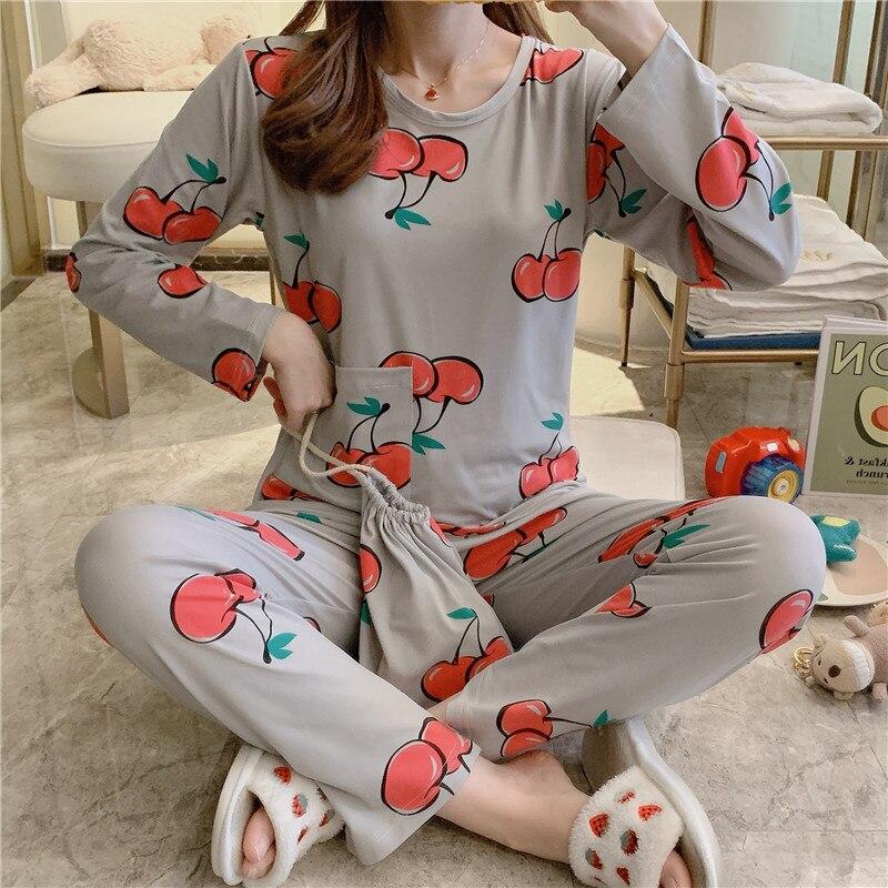 Women's spring cartoon thin pajamas milk silk pajamas set women fruit print pajamas set home service women