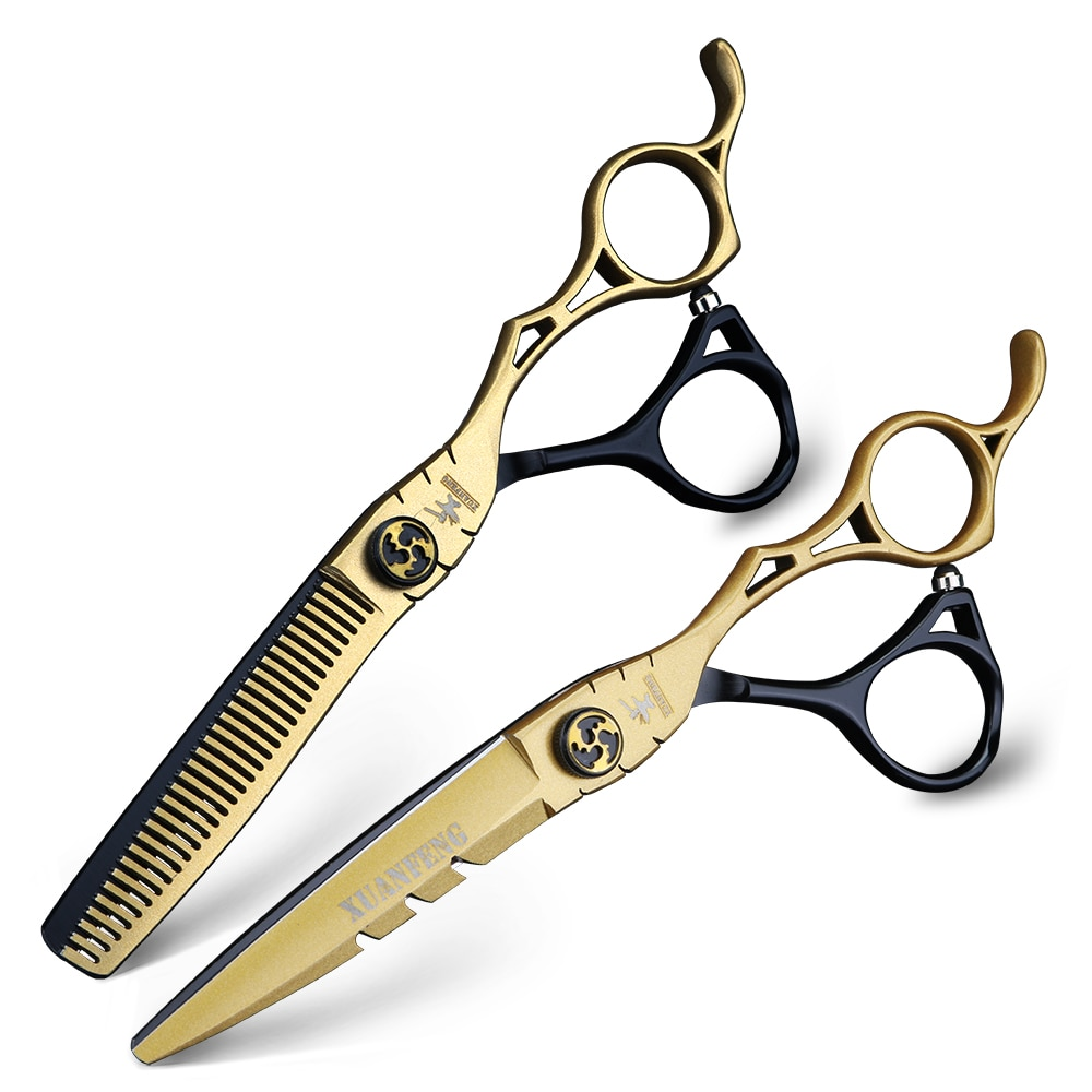 6 inch hairdressing scissors barber cutting and thinning scissors 440C stainless steel hair scissors set 2 color stitching