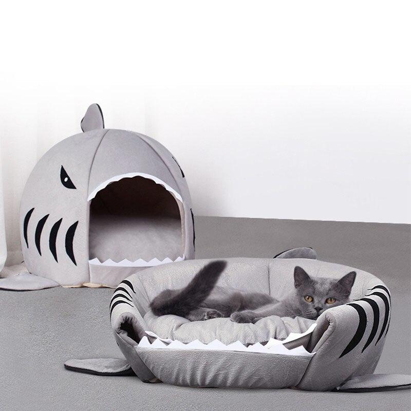 Mascota perro Shark House gato cachorro durmiendo suave sofá cama mascota pequeña mediana gatito casa interior perrera lavable estera funda de cojín