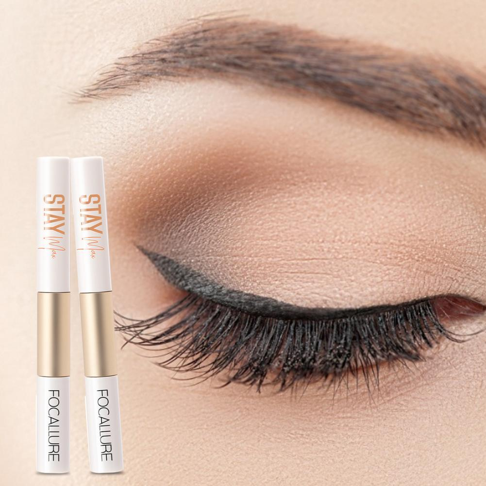 Mascara and Liquid Eyeliner 2 in 1 Long Thick Waterproof Non Smudge Lashes Extension Eye Makeup for