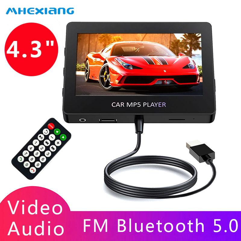 Обновленный автомобильный FM-трансмиттер, 4,3 дюйма, стерео, Bluetooth, MP5, видеоплеер, AUX, U диск, TF, пульт дистанционного управления, поддержка 8 язык...