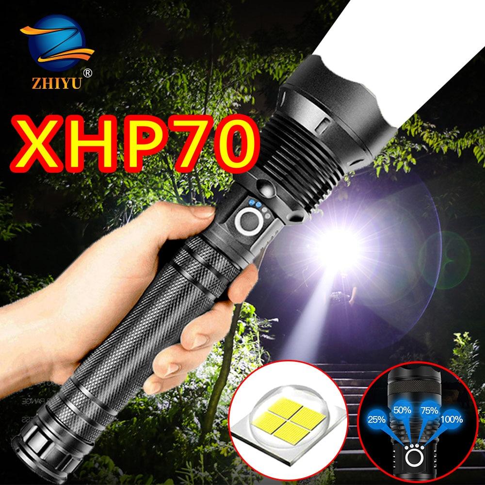 ZHIYU Xhp70/P50, La linterna Led más potente, linterna con Zoom Usb, Utiliza batería recargable 18650 o 26650, linterna de pesca para camping