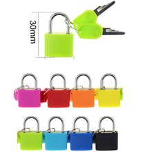 1PCS 30x23mm Small Mini Strong Steel Padlock Travel Suitcase Diary Lock With 2 Keys Colored plastic case padlock Decoration