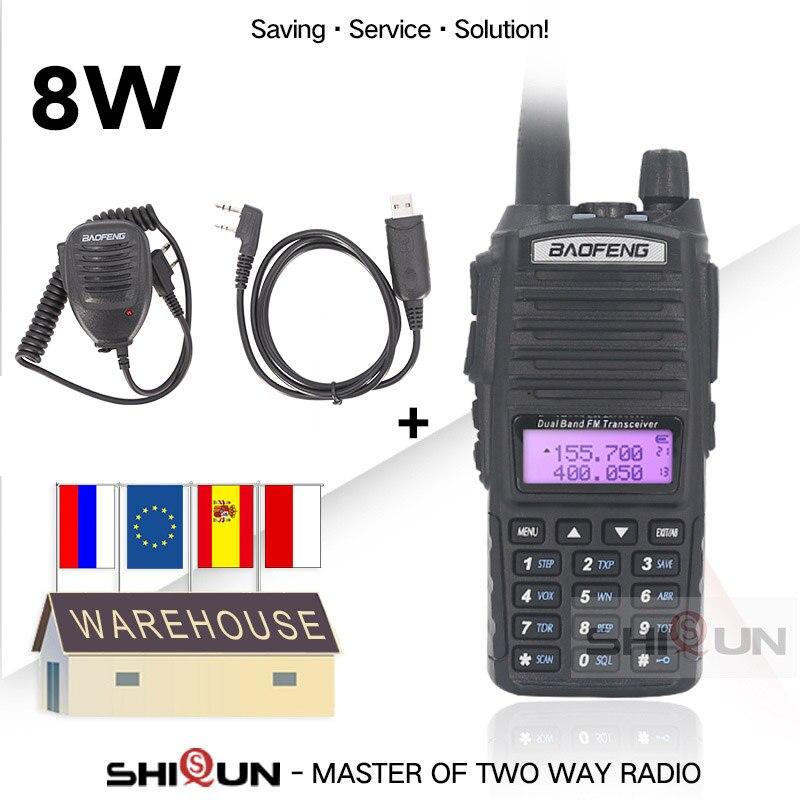 Dual PTT Original de BaoFeng 8W Walkie Talkie 10 KM Doble banda Baofeng UV-82 UHF, VHF Baofeng UV 82 Radio de 10 KM caliente Baofeng UV 9R