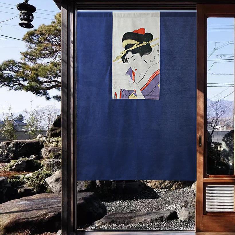 Estilo japonés Ukiyoe pintura retrato de una señora puerta cortina separación media cortina colgante imagen de belleza decoración del hogar