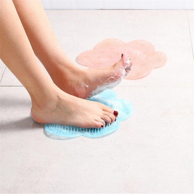 Almofada de massagem de banho preguiçoso silicone ventosa banheiro chuveiro esteira flor forma banho chuveiro volta escova massageador
