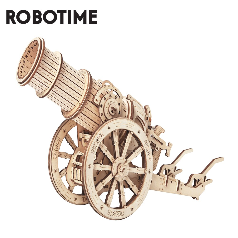 Robotime ROKR Wheeled Siege Artillery 3D Wooden Puzzle Game Assembly Toy Building Gift for Children Kids Adult KW801