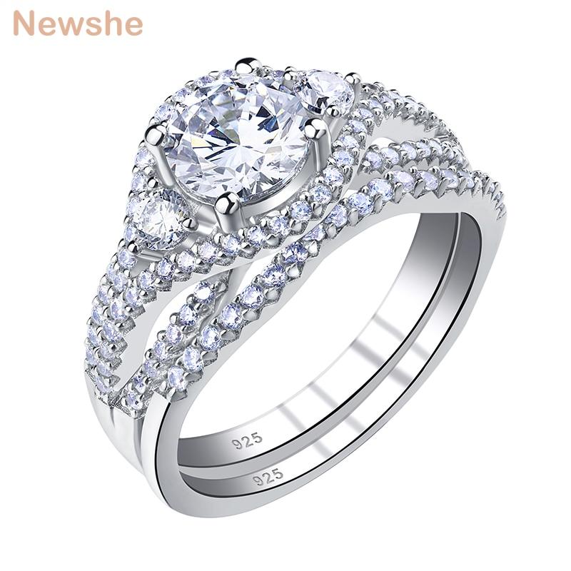 Newshe إمرأة أطقم خواتم الزفاف قطع مستديرة AAAAA زركون 925 فضة الزفاف خواتم الخطبة مجوهرات الكلاسيكية