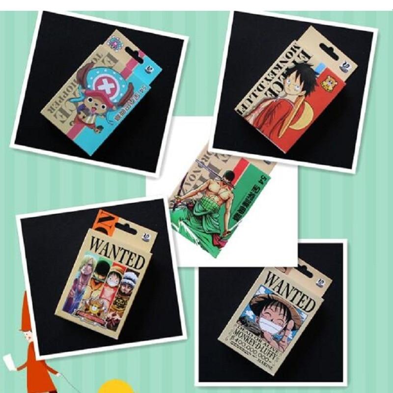 54 unids/set mono de una pieza D. Luffy Poker Roronoa Zoro figura colección de naipes fans de las tarjetas niños juguete de regalo para cumpleaños