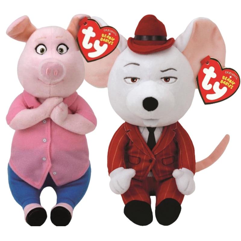 15 см Ty Beanie мягкие животные красная мышь может петь Мягкие плюшевые игрушки мягкие животные детские игрушки Rosita свинья подарок на день рожде...