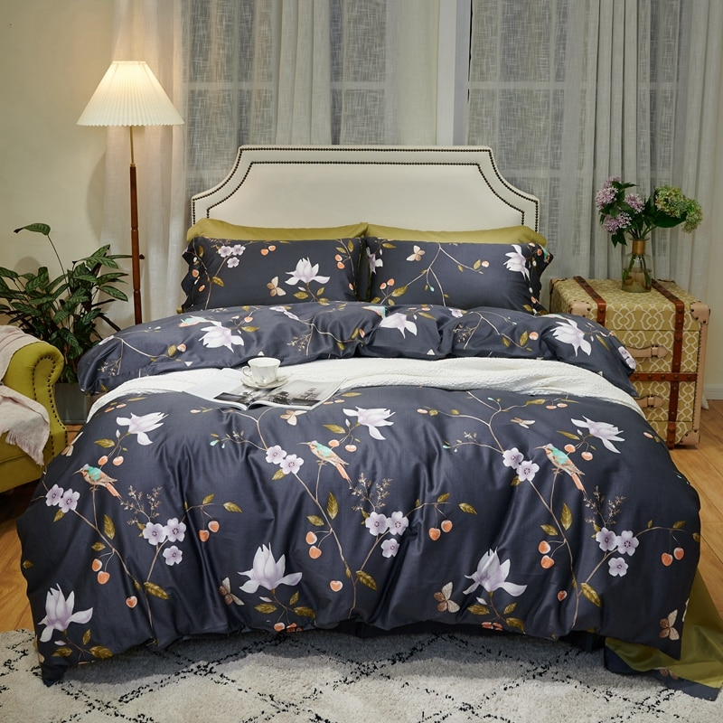 100%Egyptian Cotton Soft Bedding Chic Botanical Leaves Birds Grey Duvet Cover Set Bed Sheet Pillow shams Queen King size 4Pcs