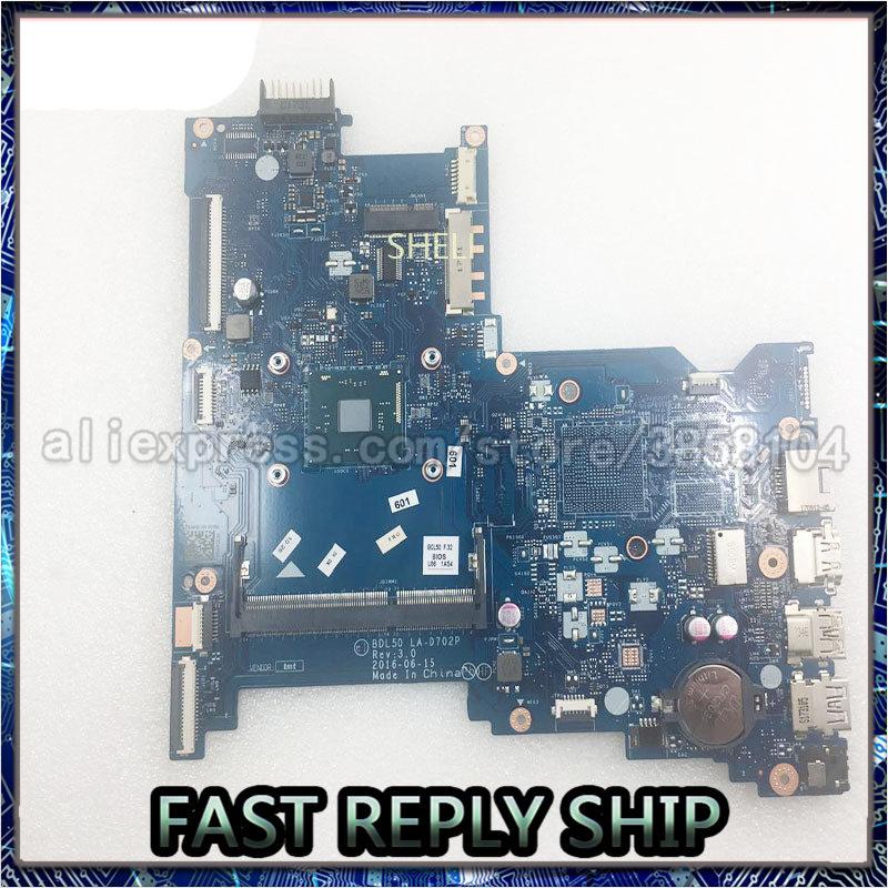 SHELI Para HP 250 Motherboard 854944-601 SR2KN G5 N3060 BDL50 LA-D702P DDR3 Laptop Mainboard testado
