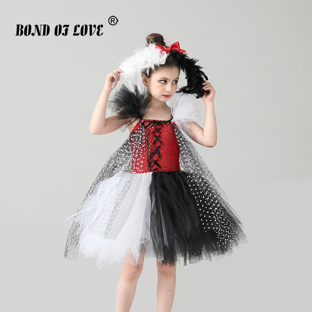 NEW Halloween Costume Kids Evil Madame Cruella De Ville Girls Tutu Dresses Dalmatians Children Party Costume