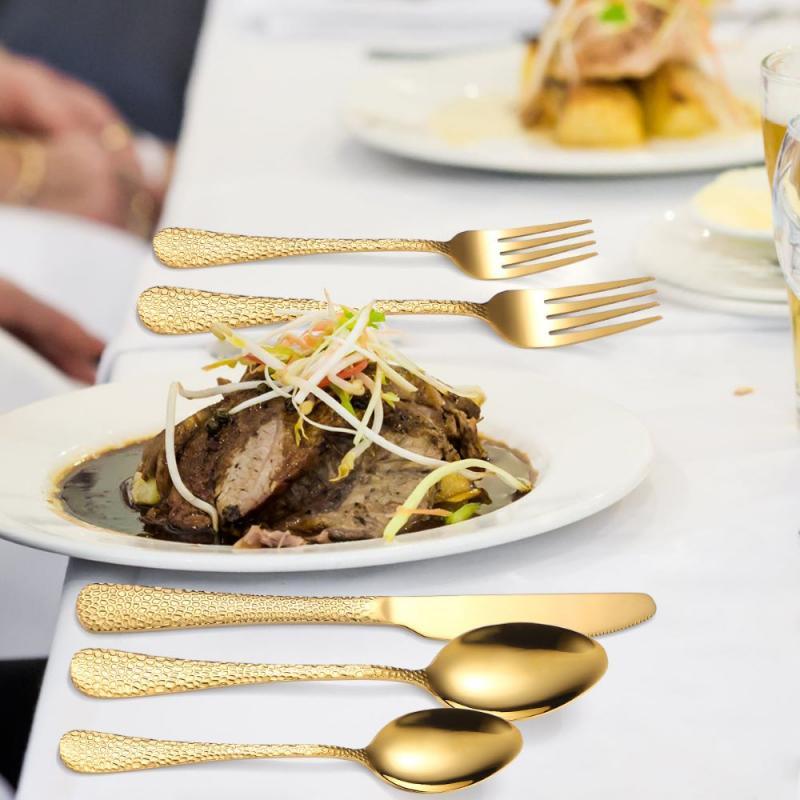 30 قطعة مجموعة أدوات المائدة ثعبان الجلد Dinnenrware مجموعة الفولاذ المقاوم للصدأ أدوات المائدة سكينة عشاء شوكة ملعقة صغيرة للمنزل المطبخ أطباق