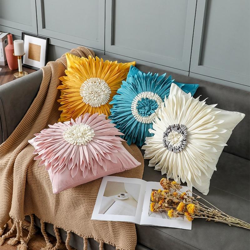 عباد الشمس كيس وسادة مجسمة بسيطة الحديثة النمط الأوروبي الإبداعية الديكور المنزلية أريكة غرفة نوم غطاء الوسادة 2021